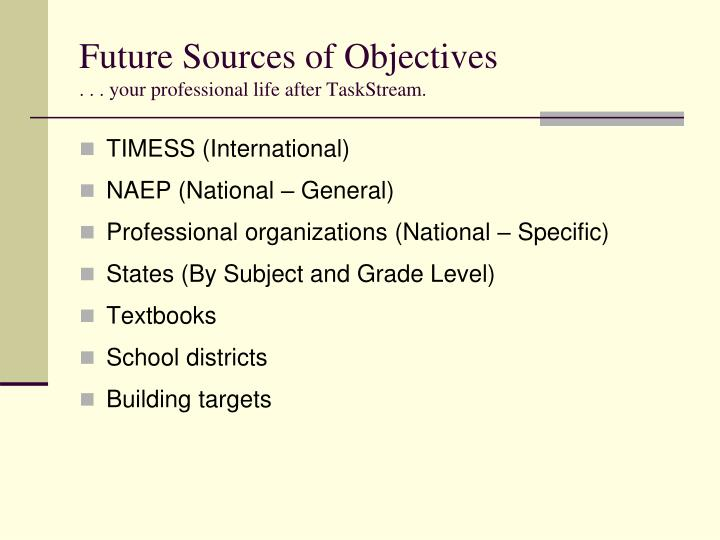Future Sources of Objectives