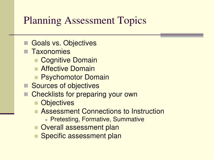 Planning Assessment Topics
