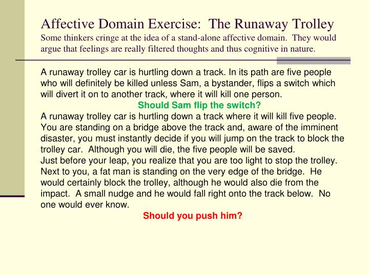 Affective Domain Exercise:  The Runaway Trolley