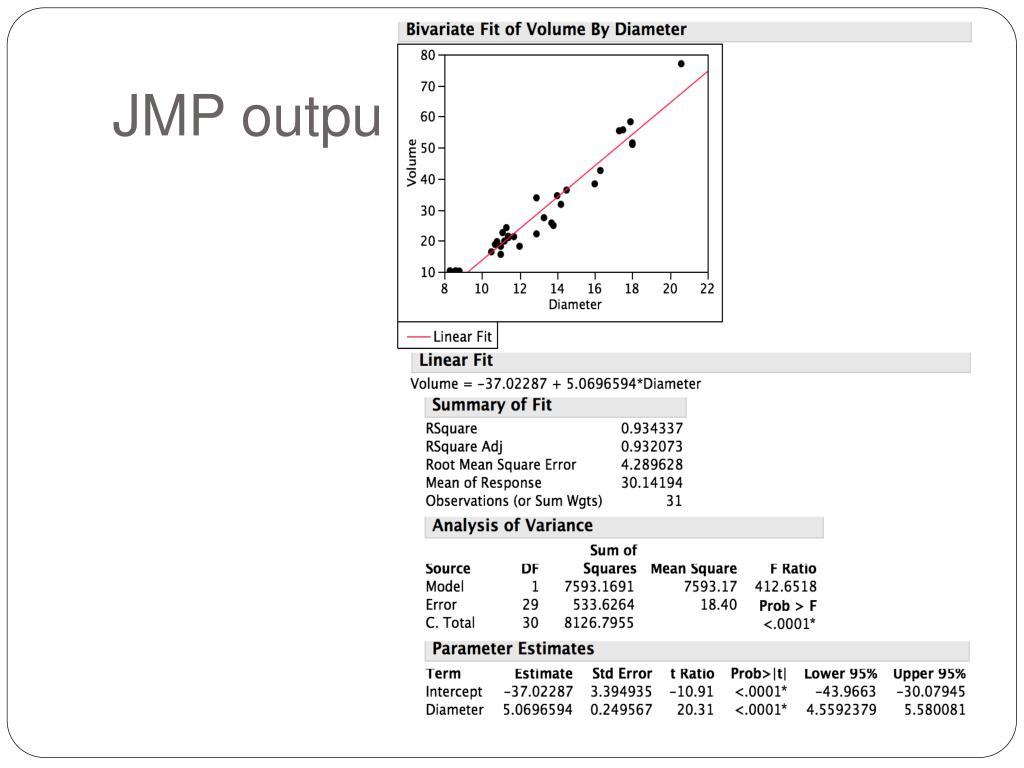 JMP output
