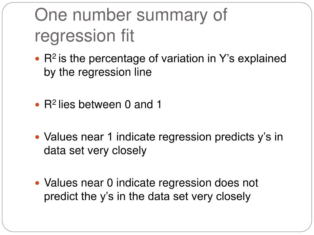 One number summary of regression fit