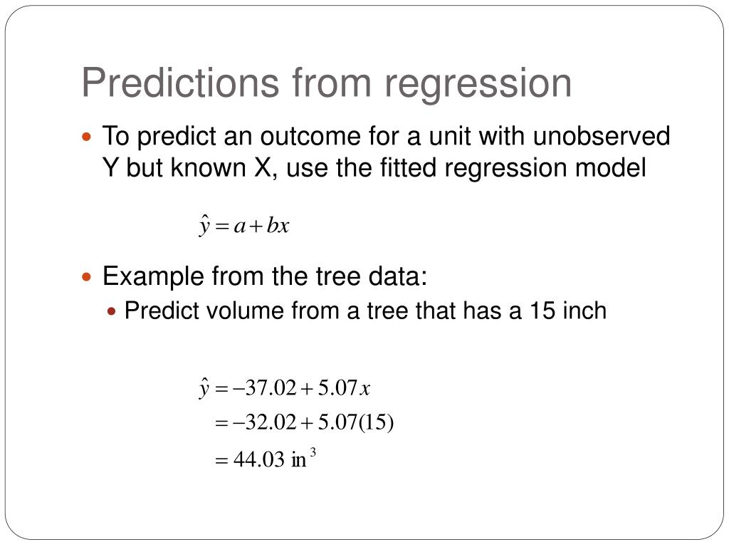 Predictions from regression