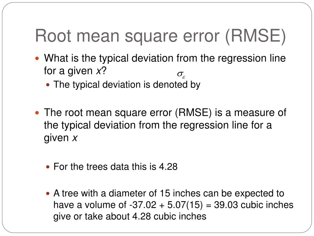 Root mean square error (RMSE)