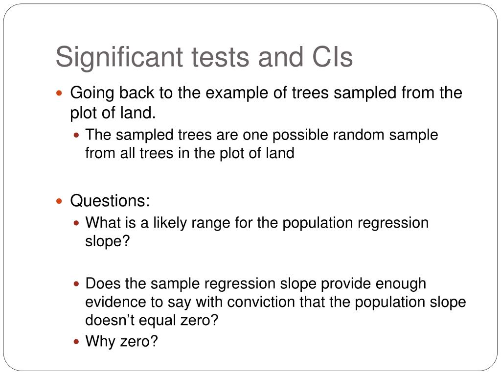 Significant tests and CIs