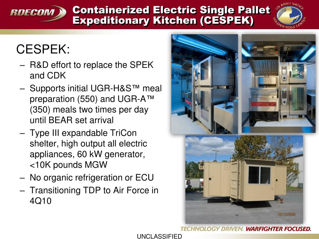 Containerized Electric Single Pallet Expeditionary Kitchen (CESPEK)
