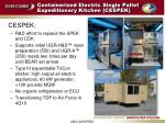 containerized electric single pallet expeditionary kitchen cespek