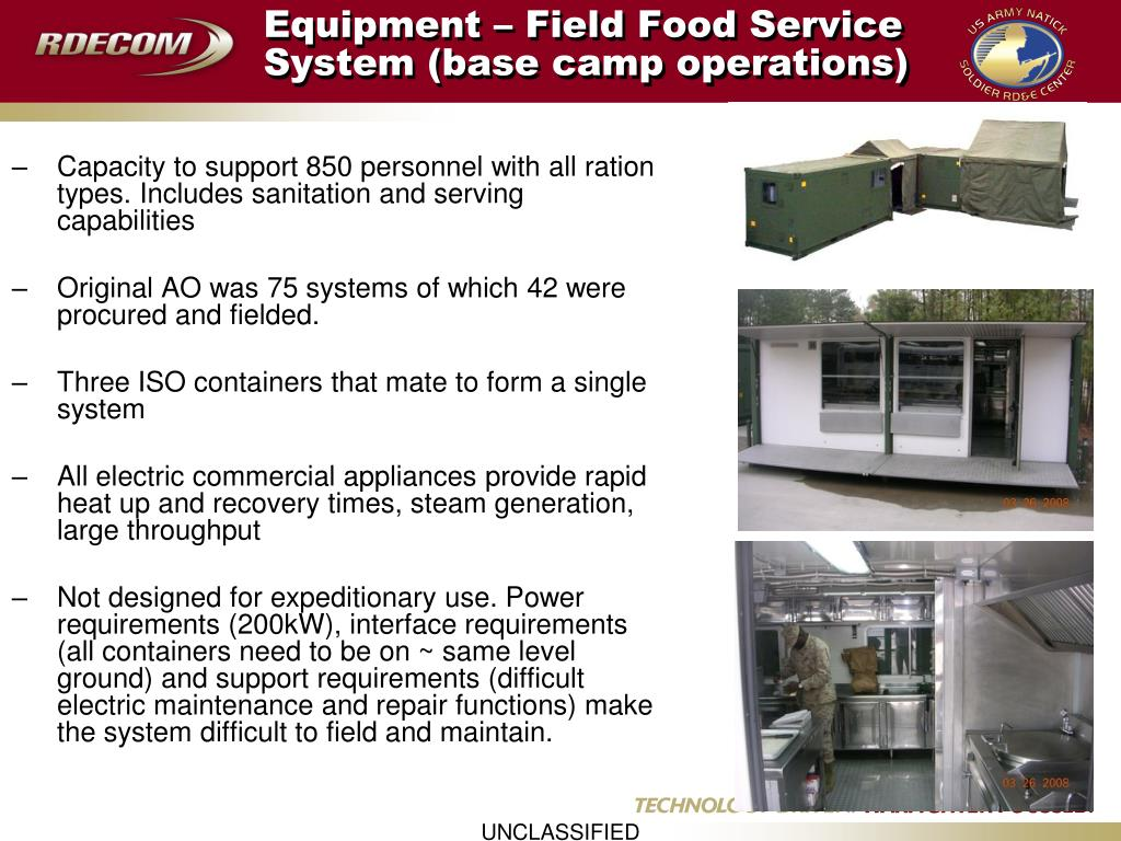 Equipment – Field Food Service System (base camp operations)