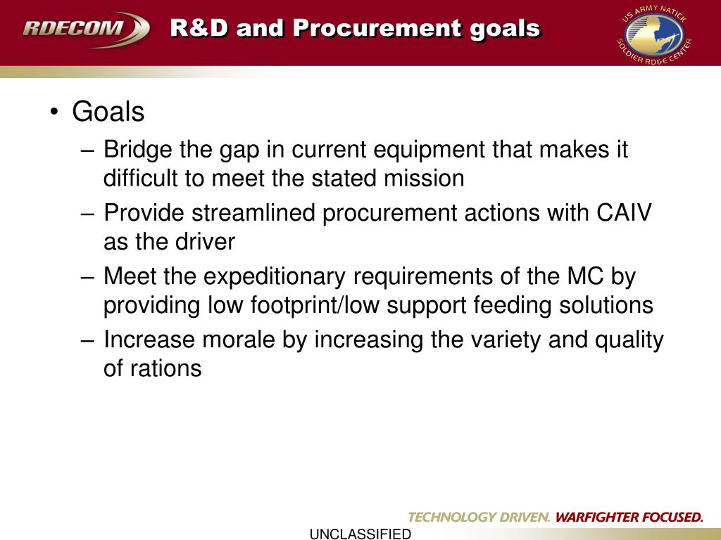 R&D and Procurement goals