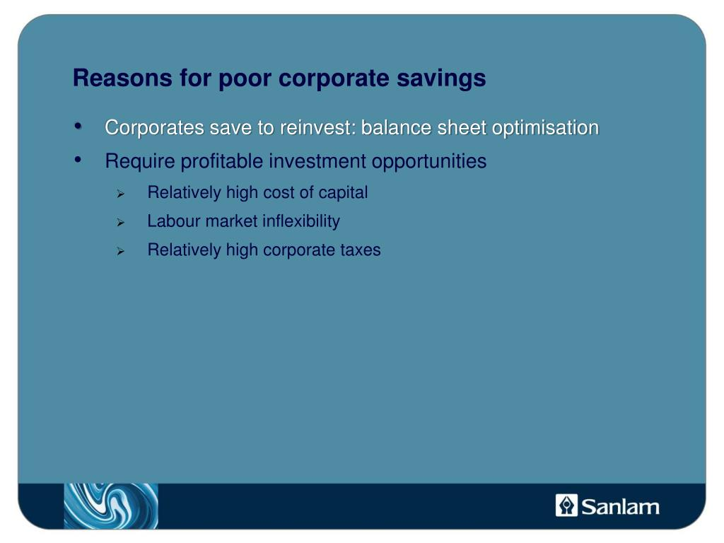 Reasons for poor corporate savings