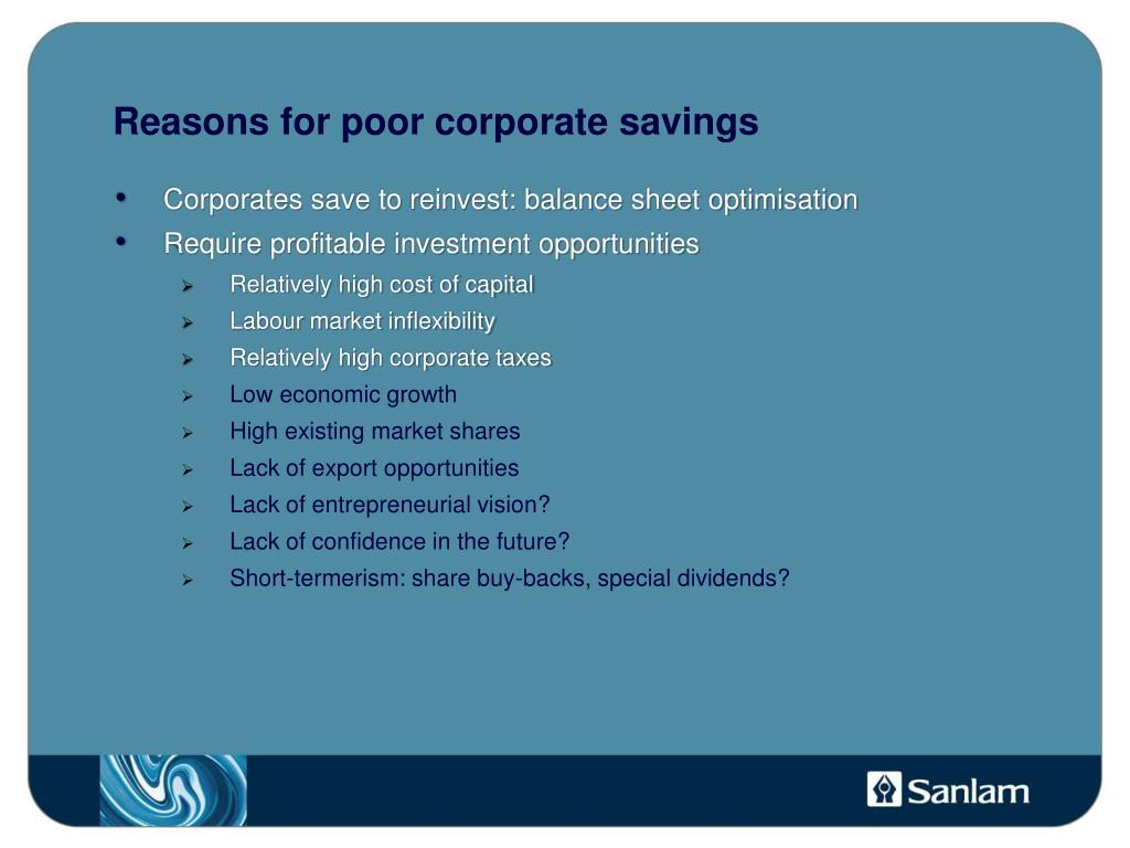 Reasons for poor corporate savings