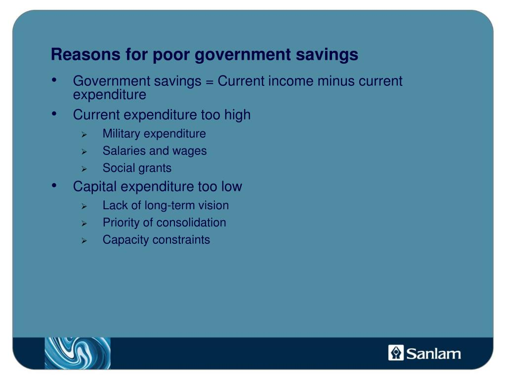 Reasons for poor government savings