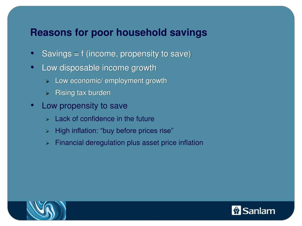 Reasons for poor household savings