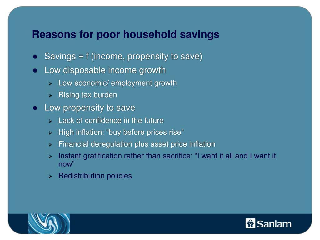 Reasons for poor household savings