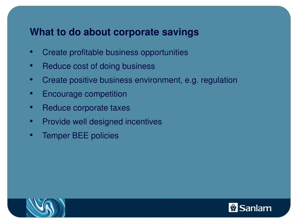 What to do about corporate savings