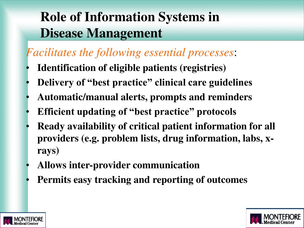 Role of Information Systems in Disease Management