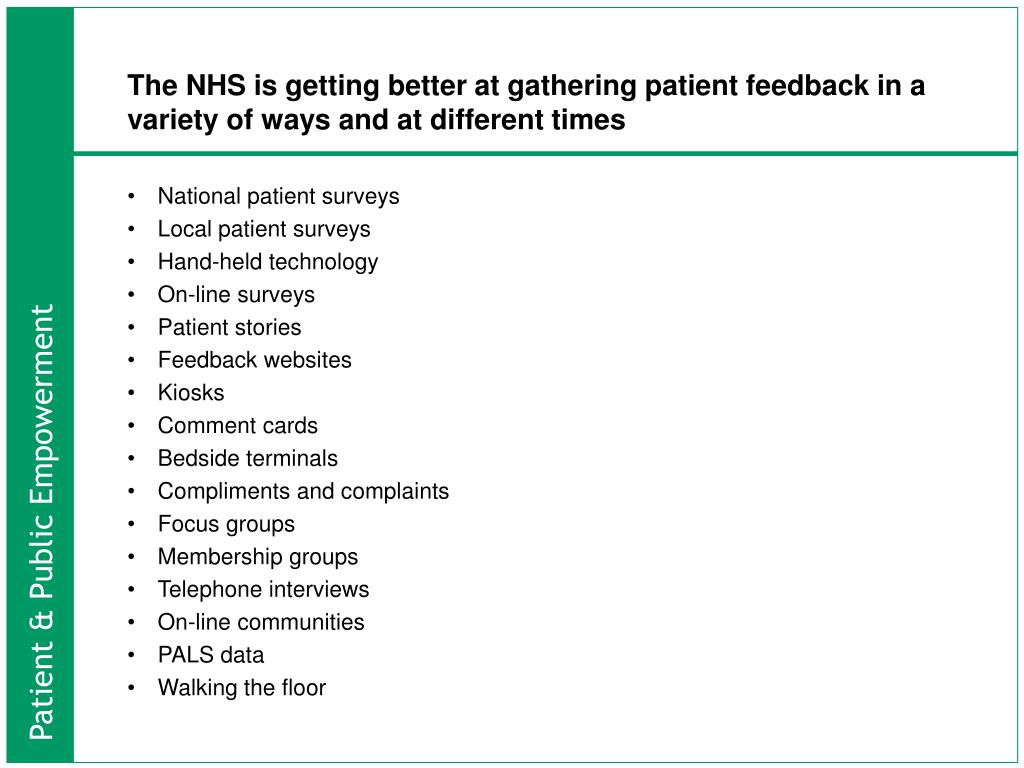 The NHS is getting better at gathering patient feedback in a variety of ways and at different times
