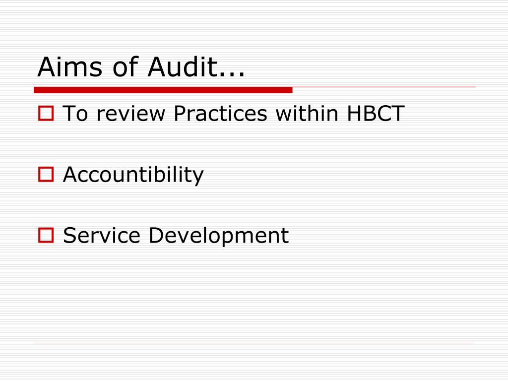 Aims of Audit...