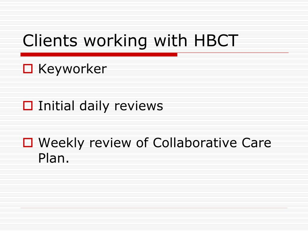 Clients working with HBCT