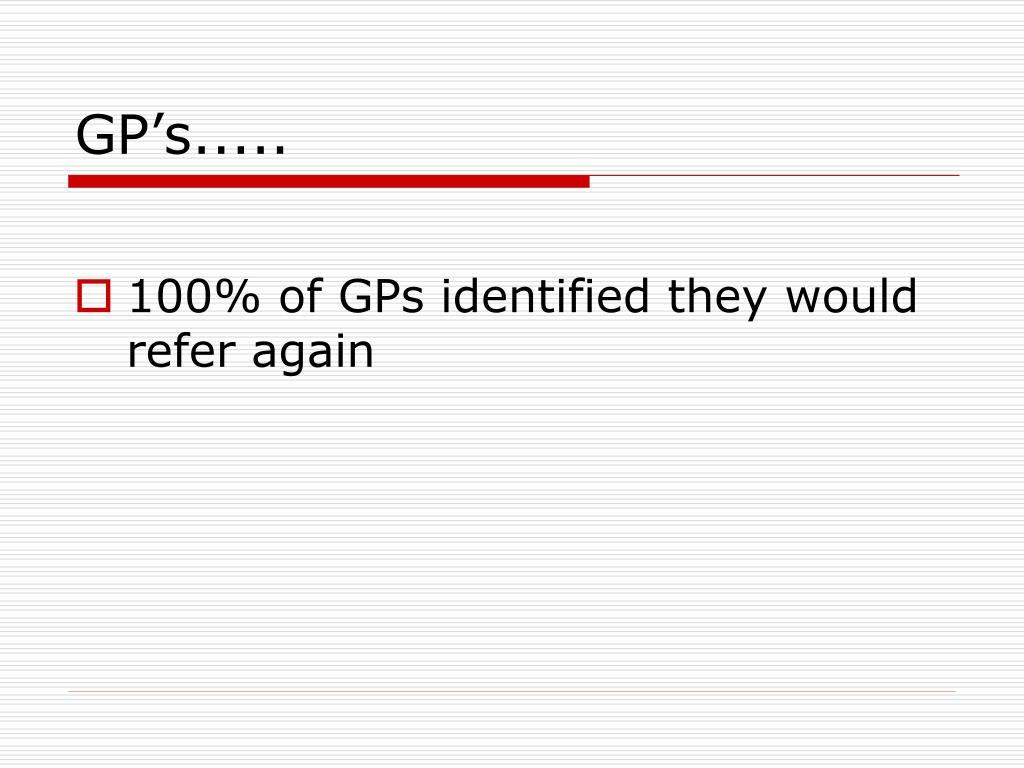 GP's.....