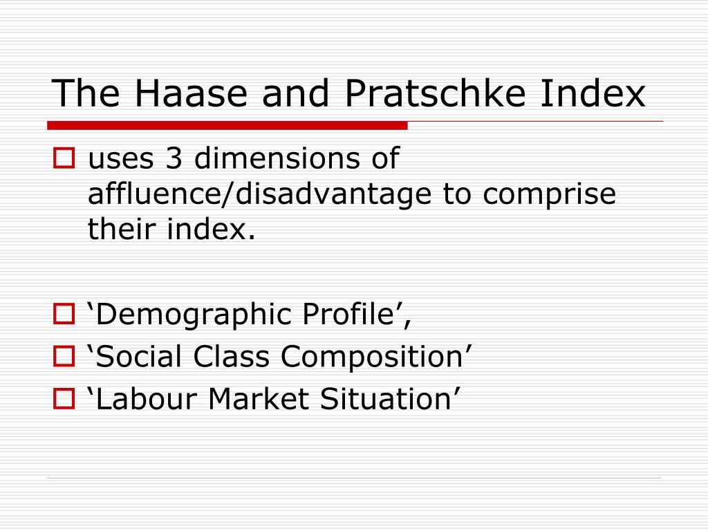 The Haase and Pratschke Index