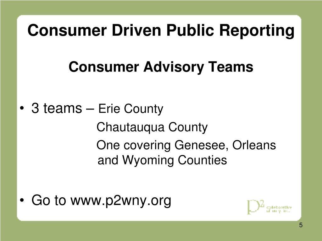 Consumer Driven Public Reporting