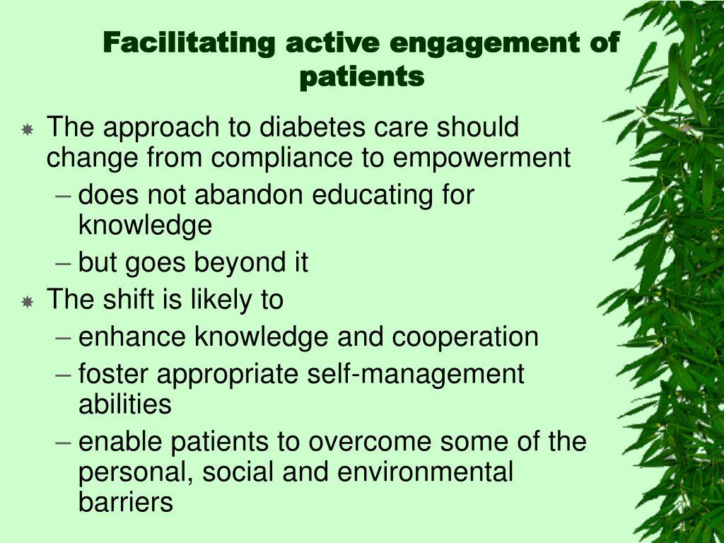 Facilitating active engagement of patients