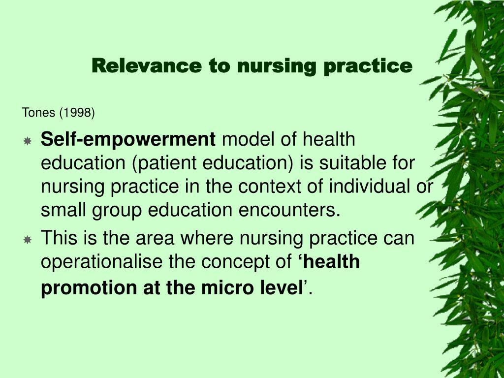Relevance to nursing practice