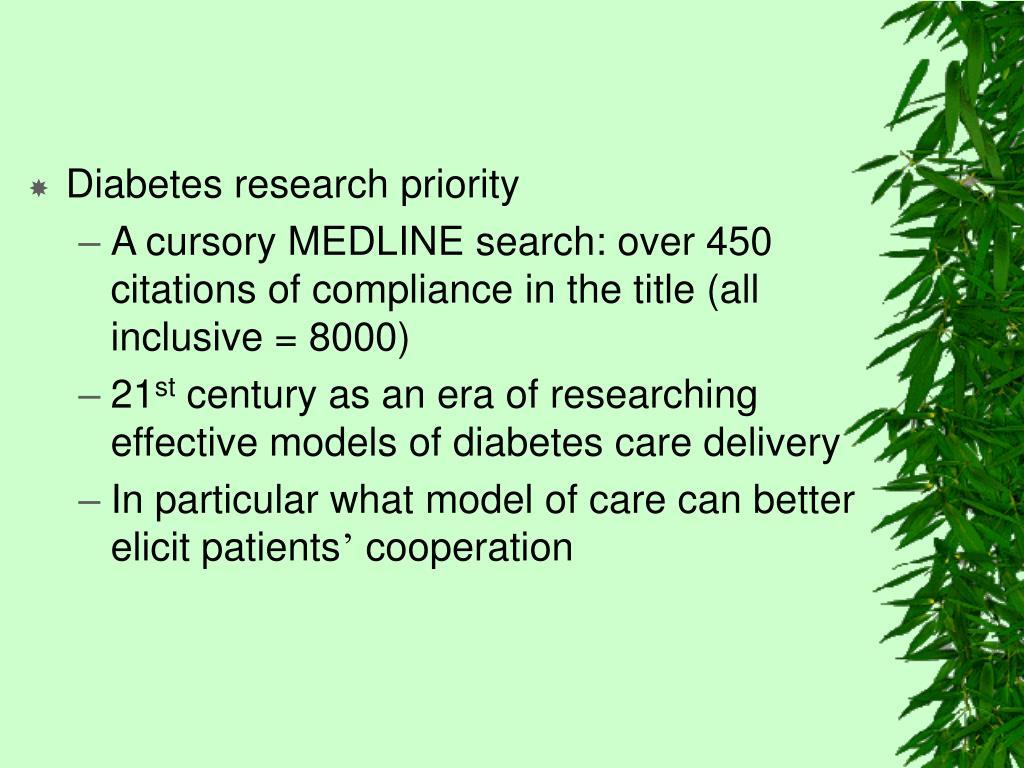 Diabetes research priority