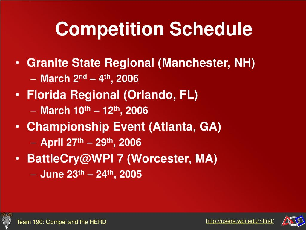 Competition Schedule