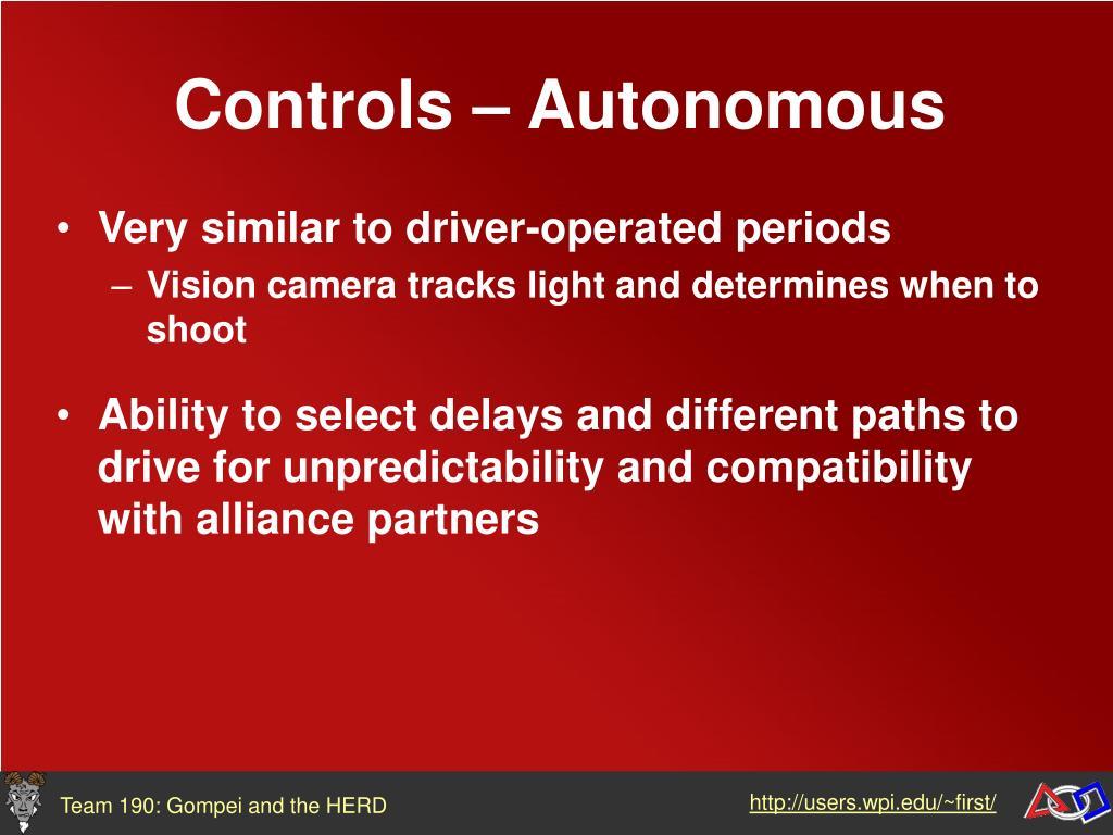 Controls – Autonomous