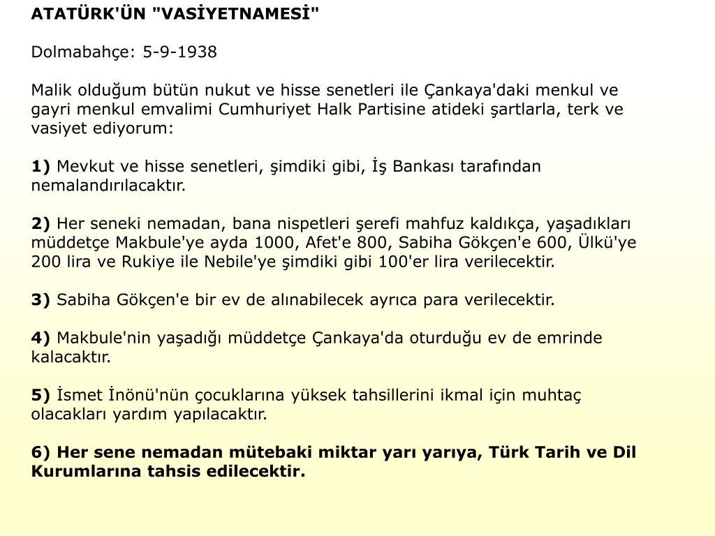 """ATATÜRK'ÜN """"VASİYETNAMESİ"""""""