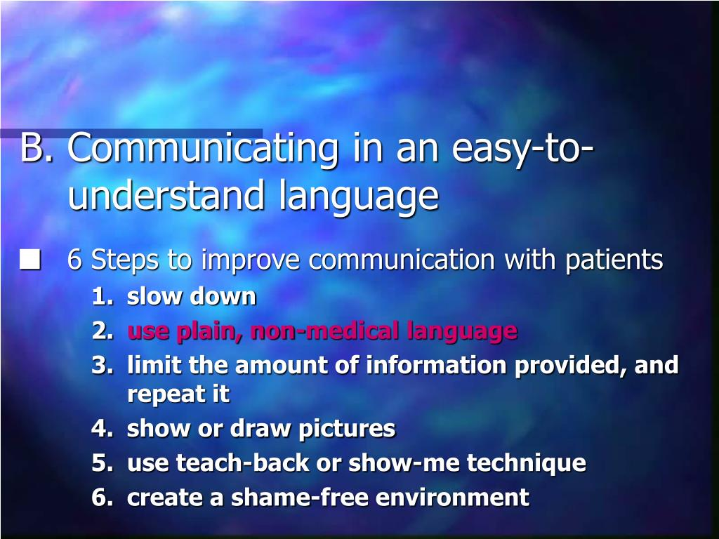 Communicating in an easy-to-understand language