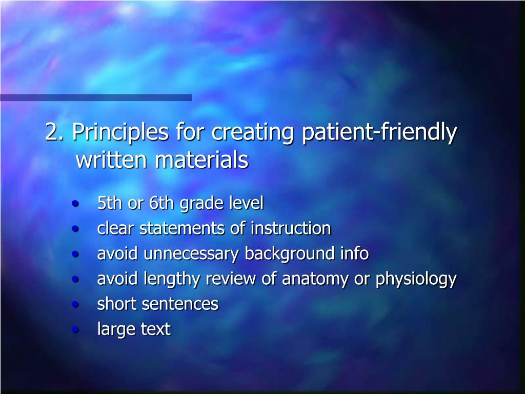 2. Principles for creating patient-friendly written materials