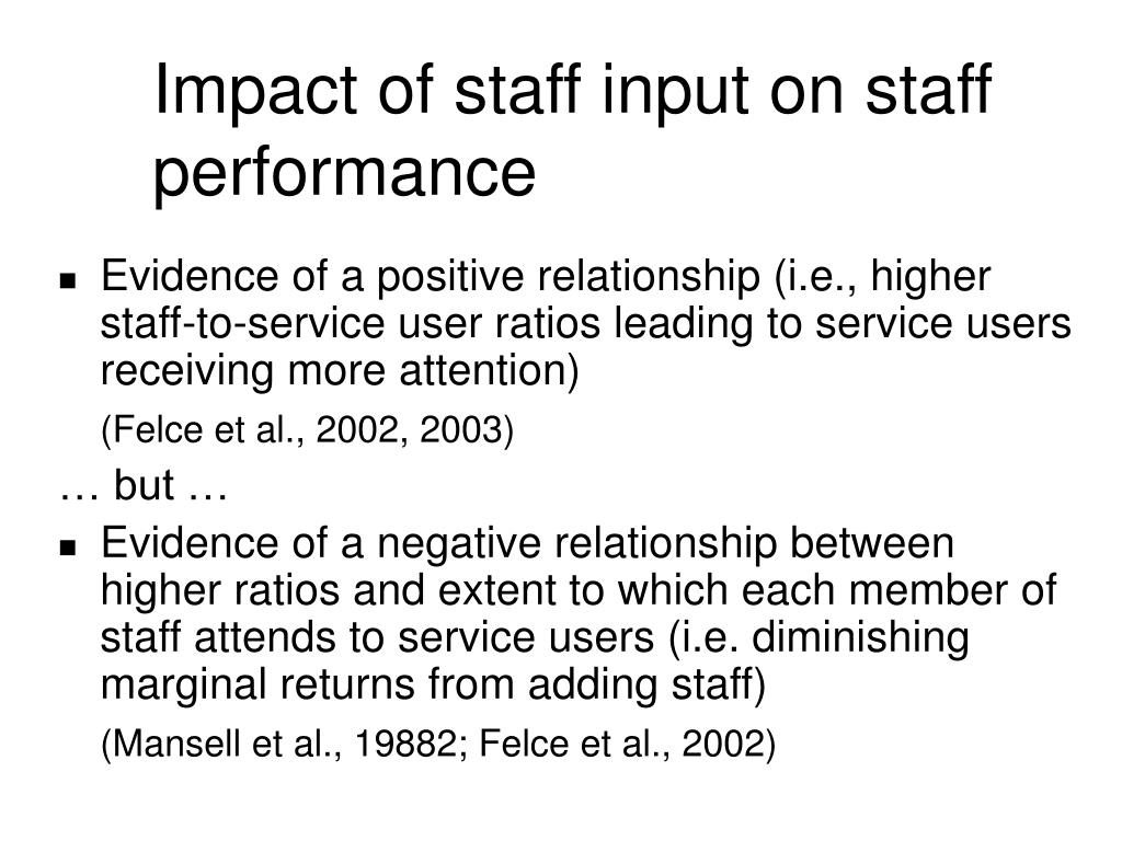 Impact of staff input on staff performance