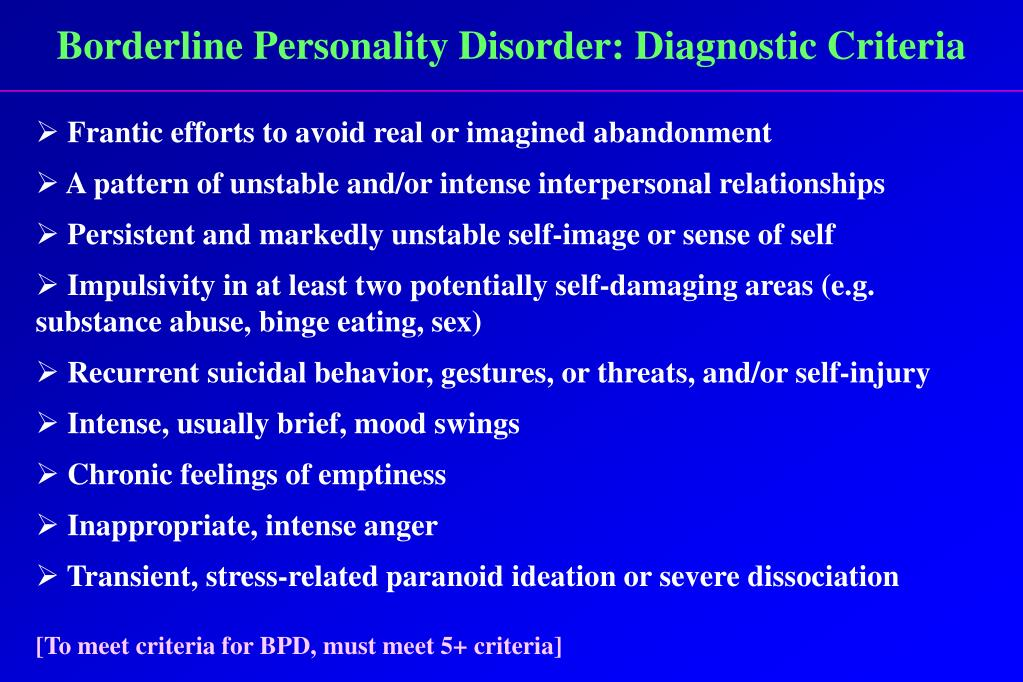 Borderline Personality Disorder: Diagnostic Criteria