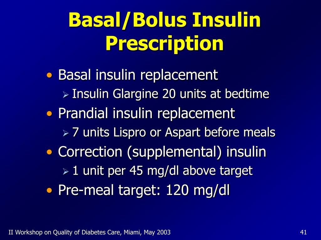 Basal/Bolus Insulin Prescription