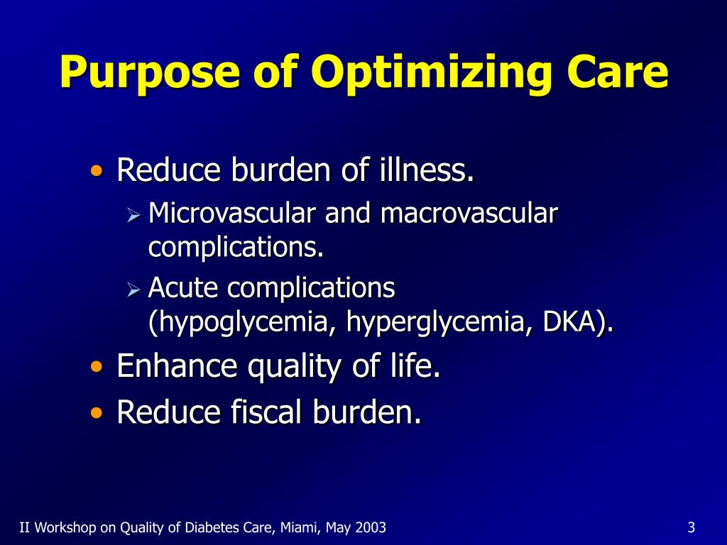 Purpose of Optimizing Care