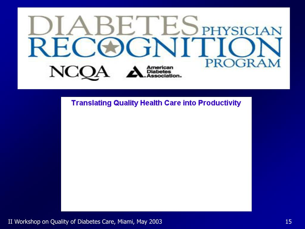 II Workshop on Quality of Diabetes Care, Miami, May 2003