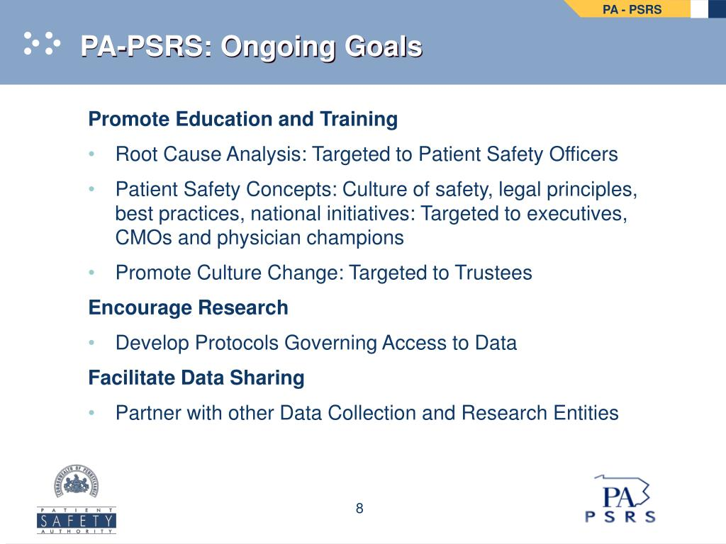 PA-PSRS: Ongoing Goals