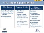 pa reporting components