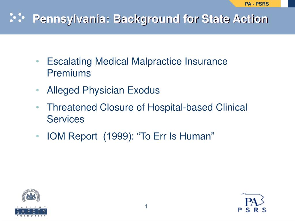 Pennsylvania: Background for State Action