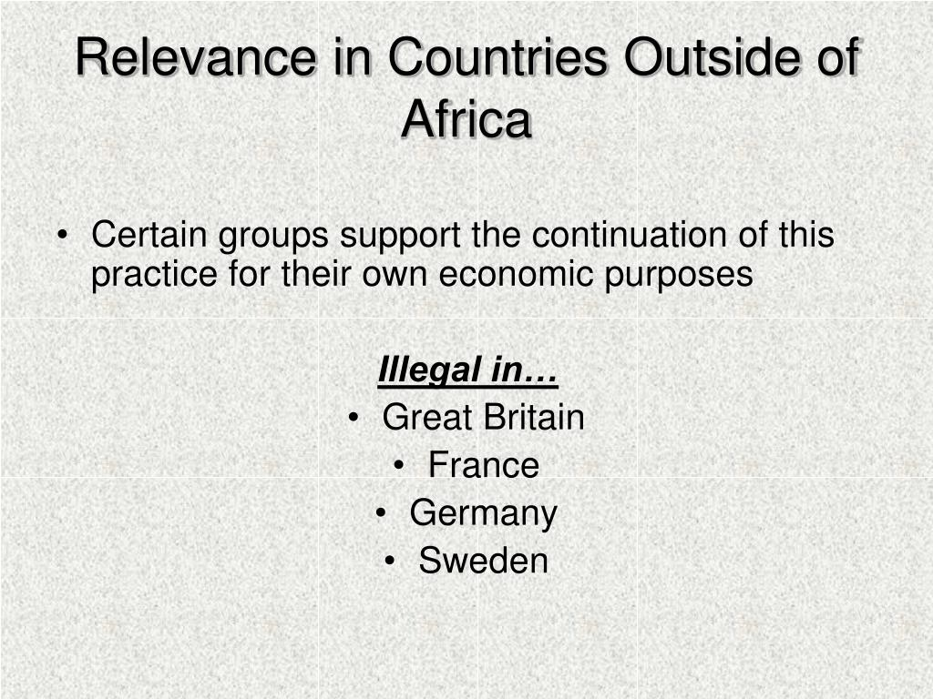 Relevance in Countries Outside of Africa