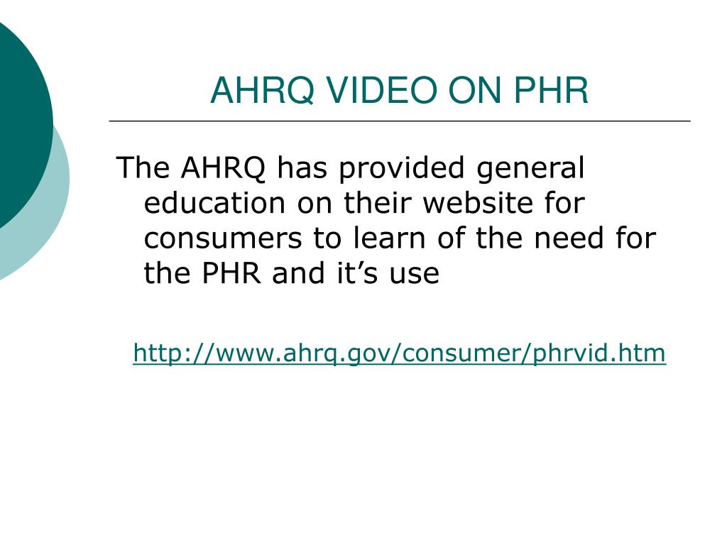 AHRQ VIDEO ON PHR