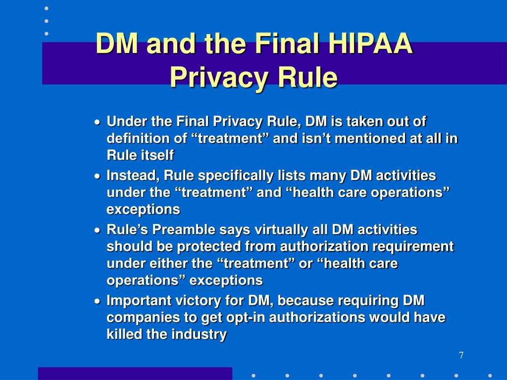 DM and the Final HIPAA Privacy Rule