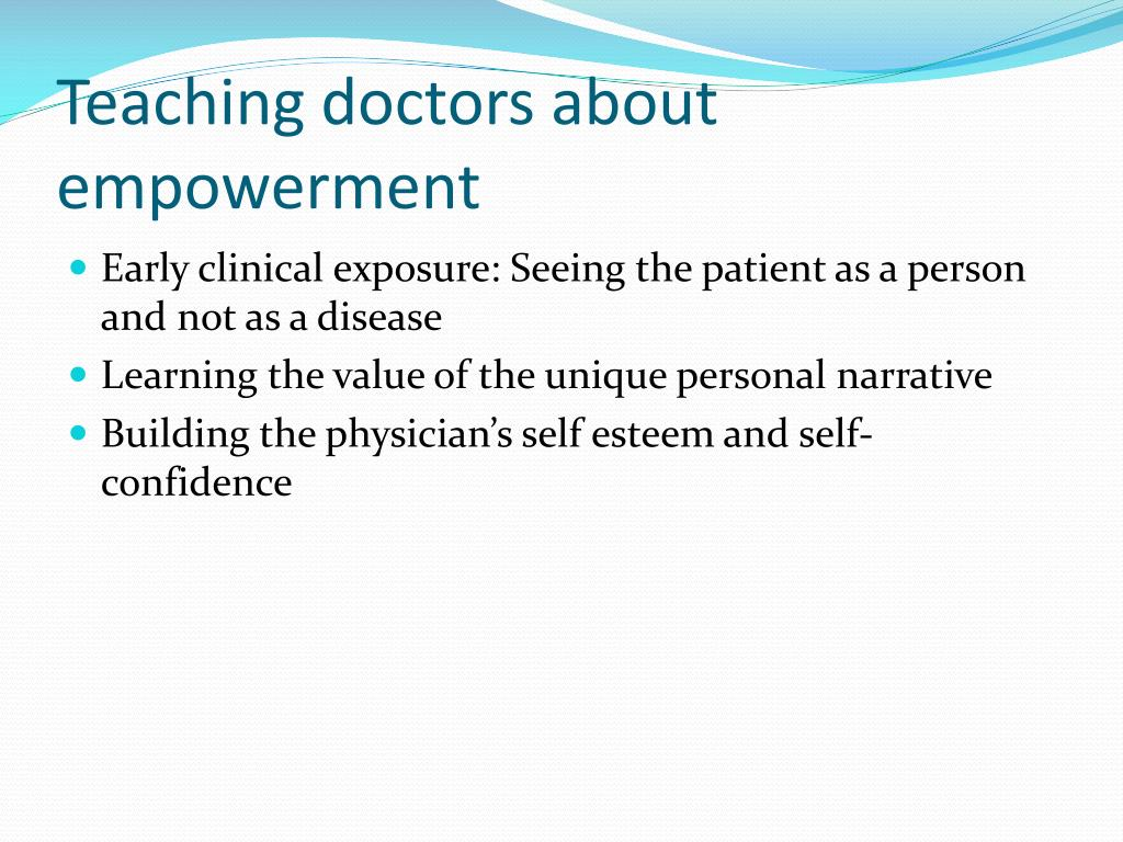 Teaching doctors about empowerment