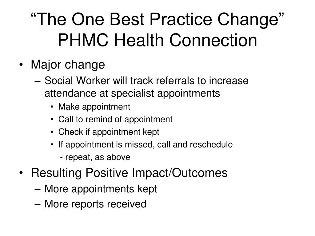 """""""The One Best Practice Change"""" PHMC Health Connection"""