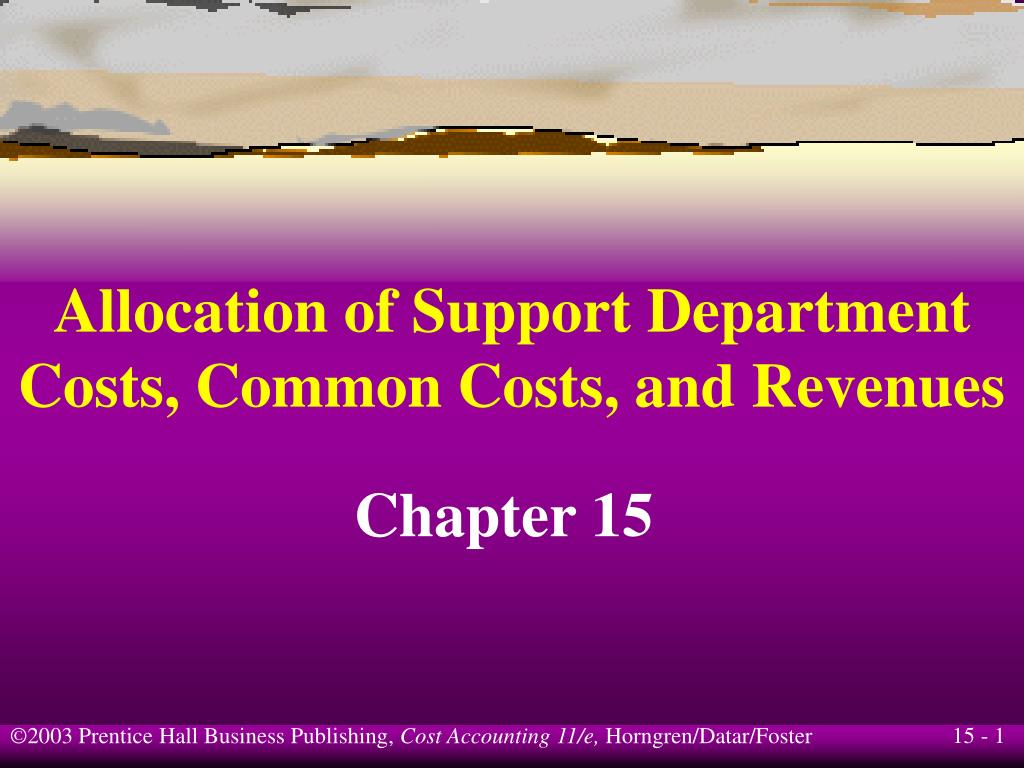 allocation of support department costs common costs and revenues