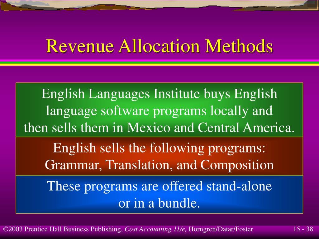 Revenue Allocation Methods