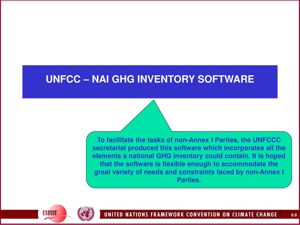 UNFCC – NAI GHG INVENTORY SOFTWARE