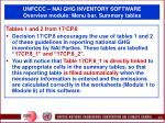 unfccc nai ghg inventory software overview module menu bar summary tables40